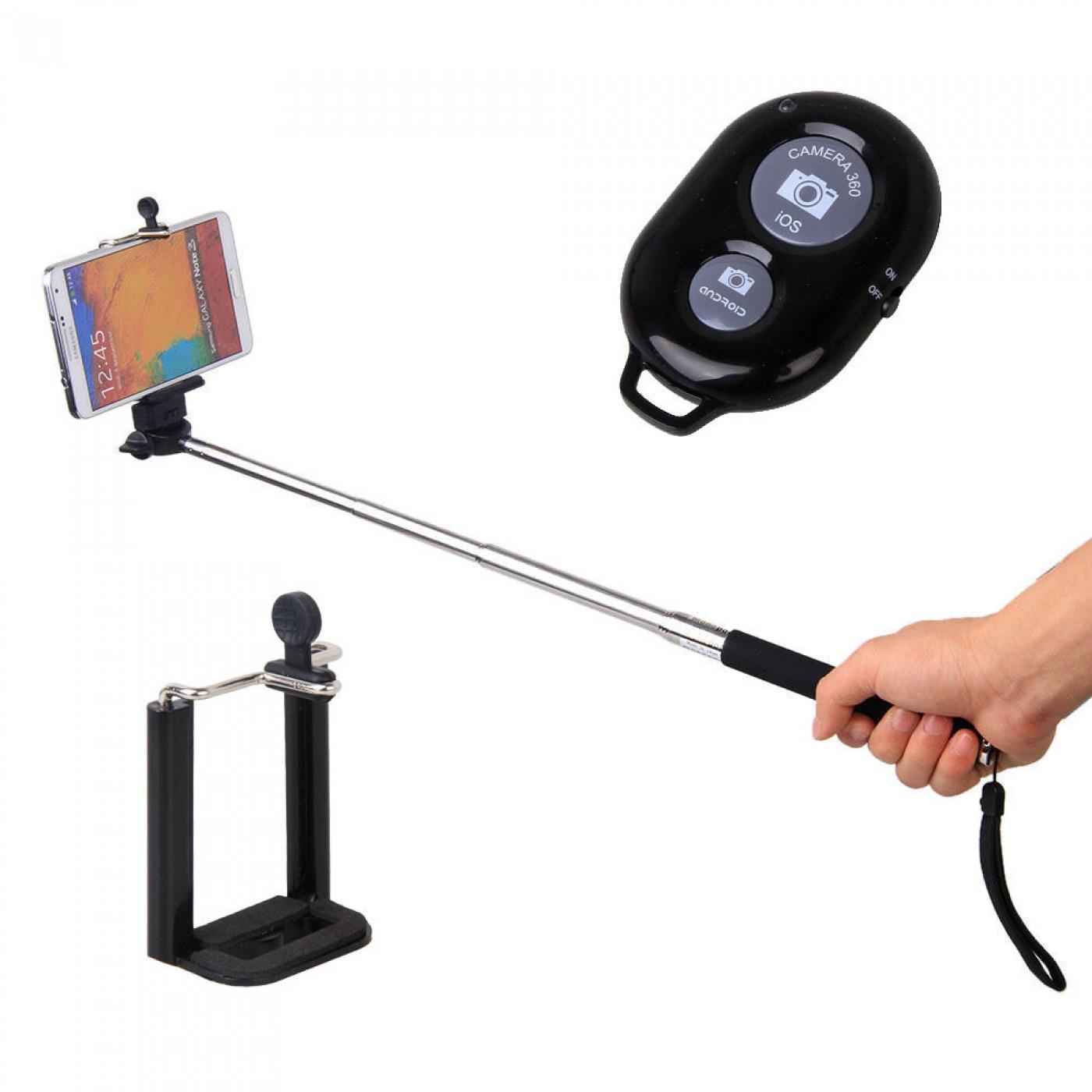 selfie stick ausziehbar bluetooth remote control. Black Bedroom Furniture Sets. Home Design Ideas