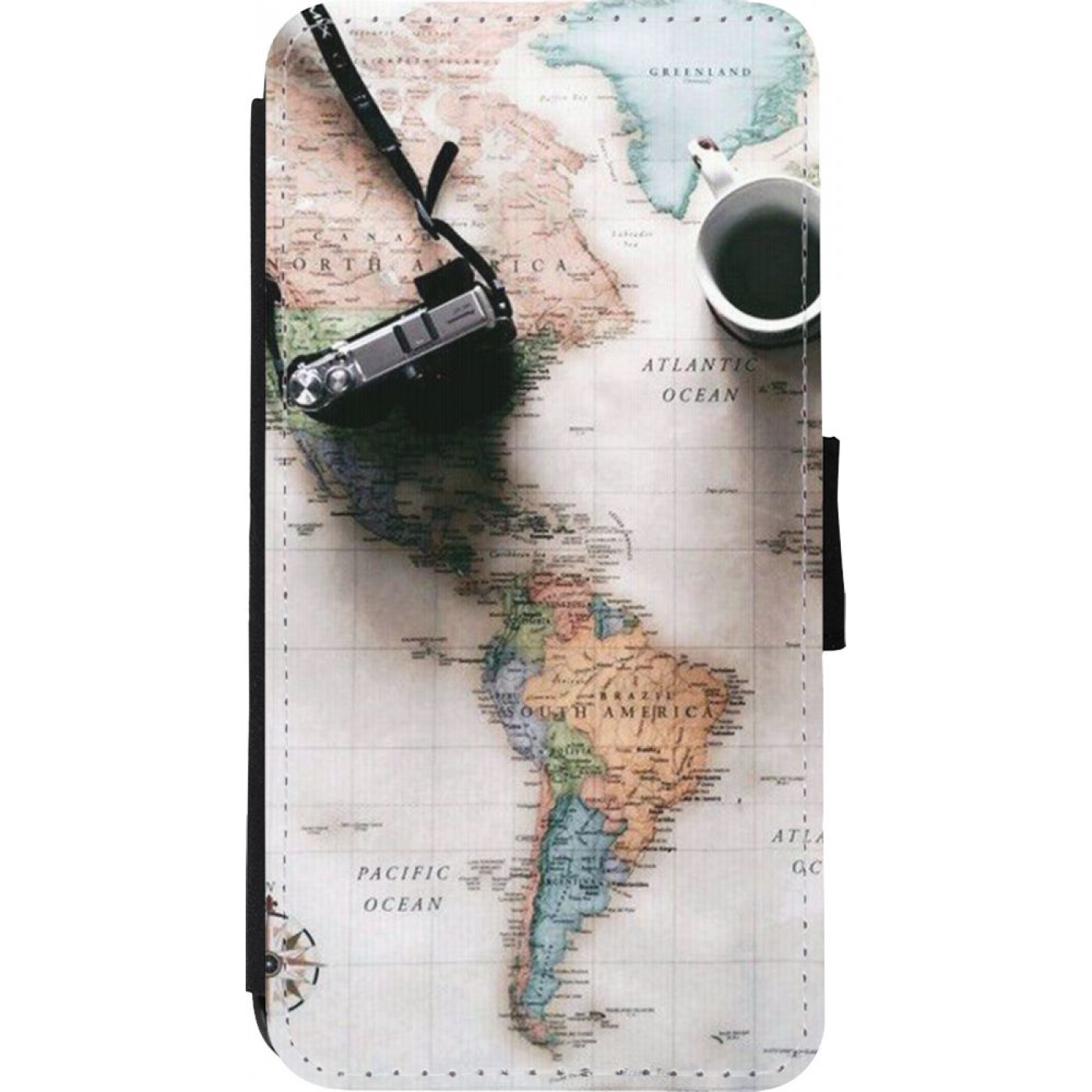 Coque iPhone Xs Max - Wallet noir Travel 01