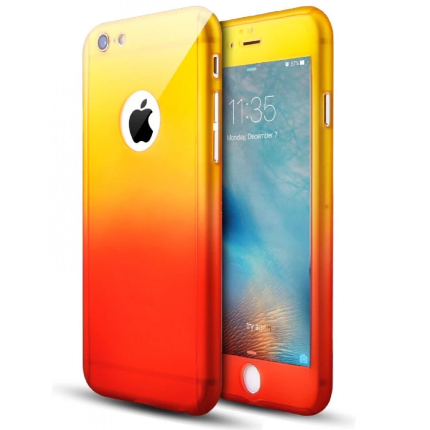 coque iphone 7 8 360 full body gradient jaune orange. Black Bedroom Furniture Sets. Home Design Ideas