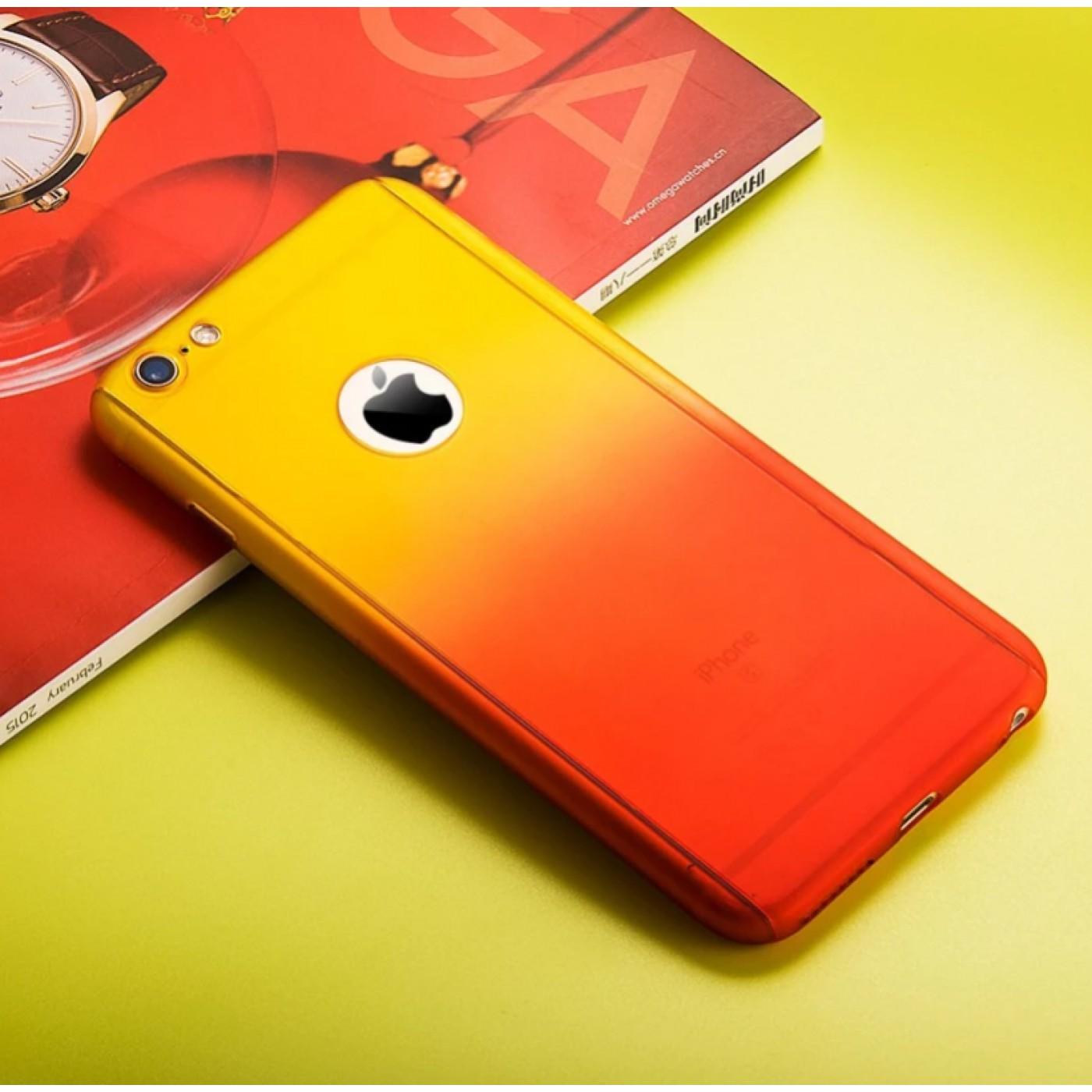 coque iphone 7 plus 8 plus 360 full body gradient jaune orange. Black Bedroom Furniture Sets. Home Design Ideas