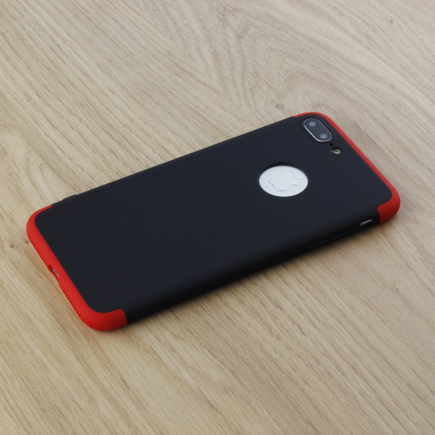 coque iphone 6 plus 6s plus 360 full body noir rouge. Black Bedroom Furniture Sets. Home Design Ideas