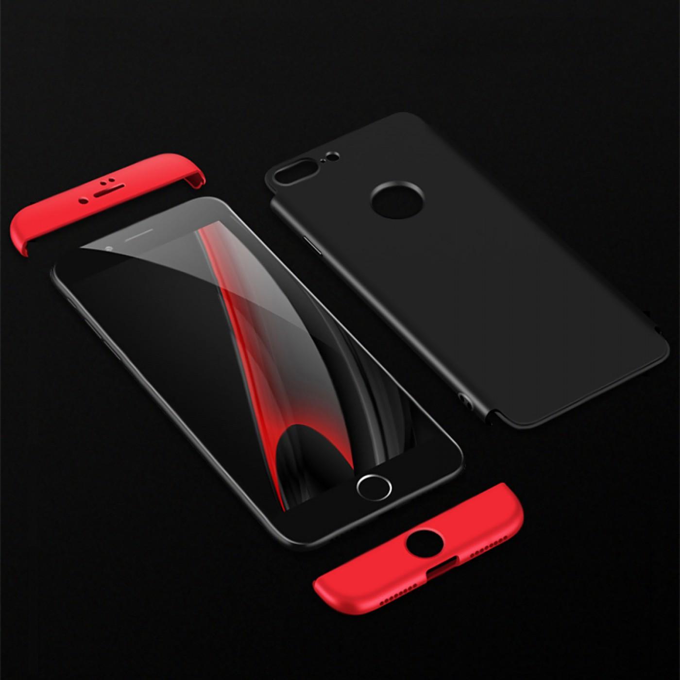 coque iphone 7 plus 8 plus 360 full body noir rouge. Black Bedroom Furniture Sets. Home Design Ideas