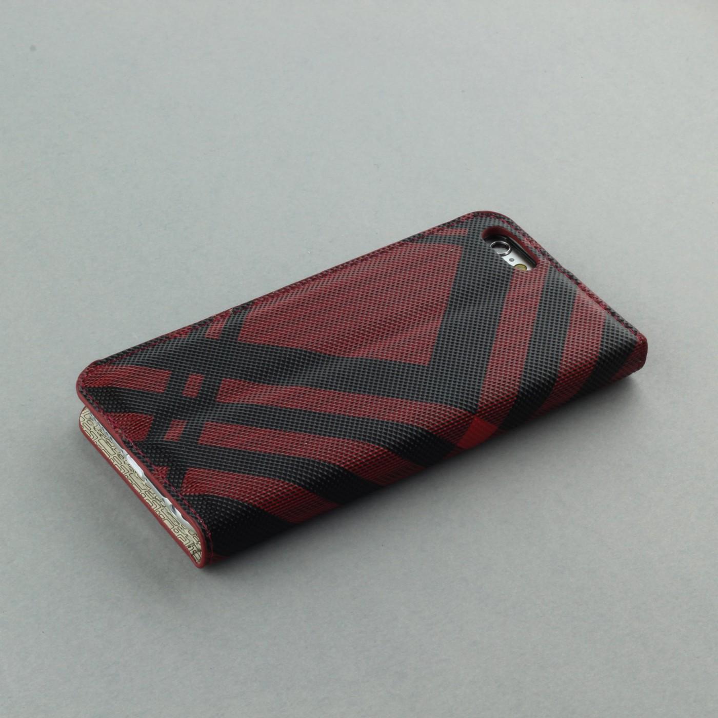fourre iphone 6 6s flip lines rouge. Black Bedroom Furniture Sets. Home Design Ideas