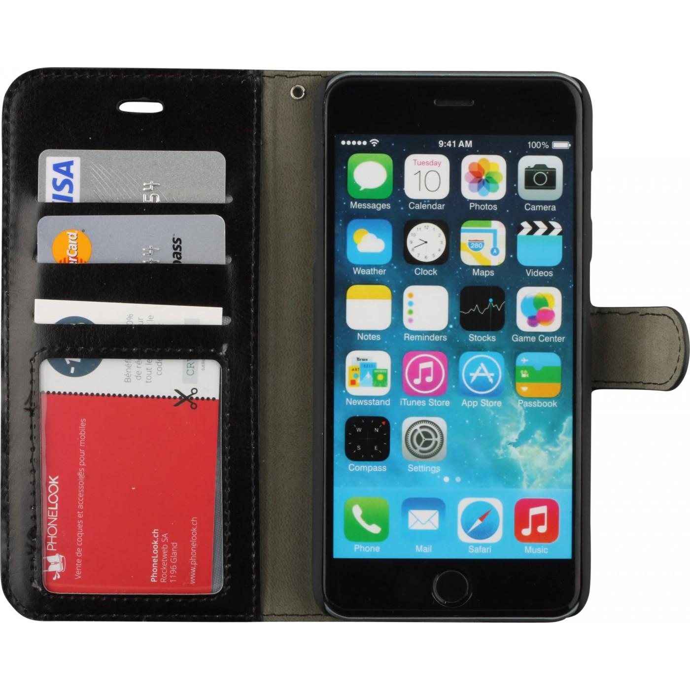 fourre iphone 6 plus 6s plus premium flip noir. Black Bedroom Furniture Sets. Home Design Ideas