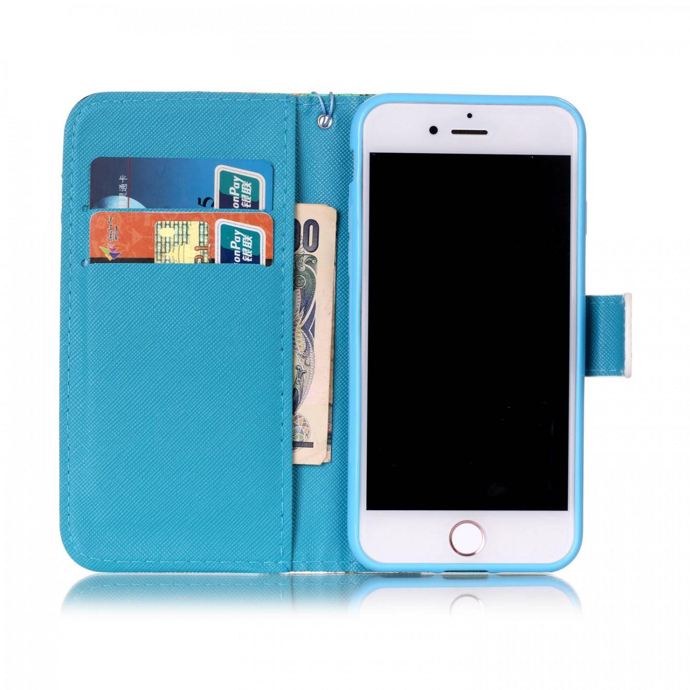 fourre iphone 7 8 flip papillons bleu. Black Bedroom Furniture Sets. Home Design Ideas
