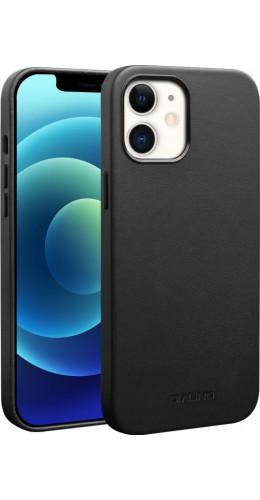 Coque iPhone 12 / 12 Pro - Qialino cuir véritable (compatible MagSafe) noir