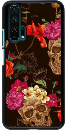 Coque Honor 20 Pro - Skulls and flowers
