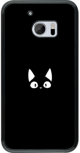 Coque HTC 10 - Funny cat on black