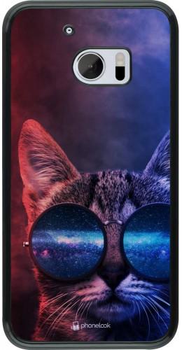 Coque HTC 10 - Red Blue Cat Glasses