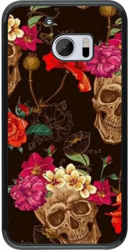 Coque HTC 10 - Skulls and flowers