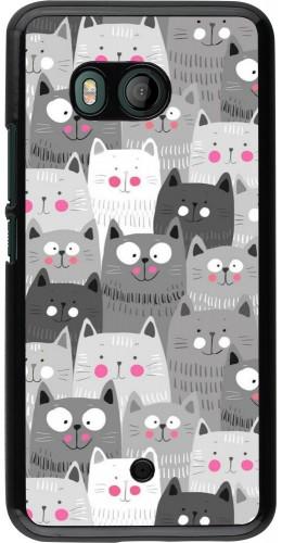 Coque HTC U11 - Chats gris troupeau