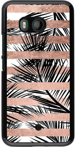 Coque HTC U11 - Palm trees gold stripes