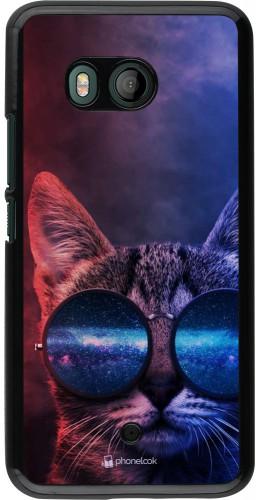 Coque HTC U11 - Red Blue Cat Glasses