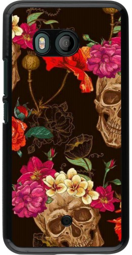 Coque HTC U11 - Skulls and flowers