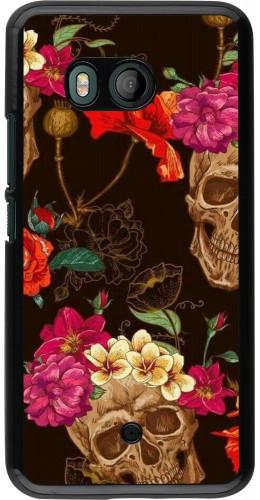 Coque HTC U11 - Skulls and flowers