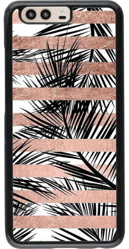 Coque Huawei P10 - Palm trees gold stripes