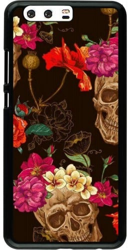 Coque Huawei P10 Plus - Skulls and flowers