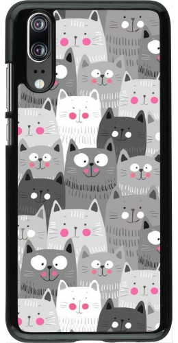 Coque Huawei P20 - Chats gris troupeau
