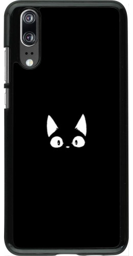 Coque Huawei P20 - Funny cat on black