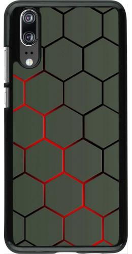 Coque Huawei P20 - Geometric Line red