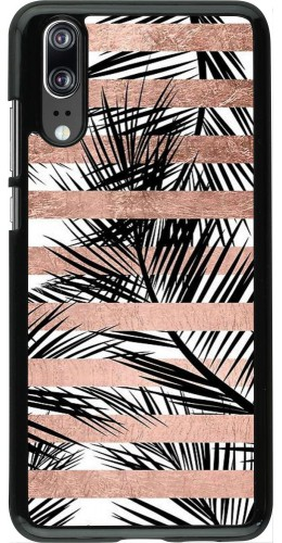 Coque Huawei P20 - Palm trees gold stripes