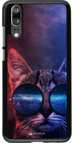 Coque Huawei P20 - Red Blue Cat Glasses