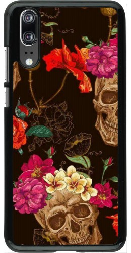 Coque Huawei P20 - Skulls and flowers