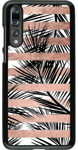 Coque Huawei P20 Pro - Palm trees gold stripes