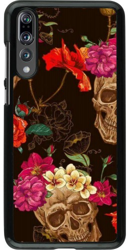 Coque Huawei P20 Pro - Skulls and flowers