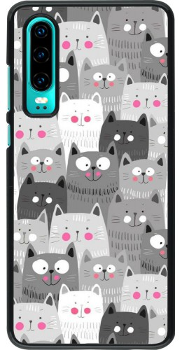 Coque Huawei P30 - Chats gris troupeau