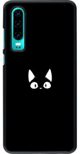 Coque Huawei P30 - Funny cat on black
