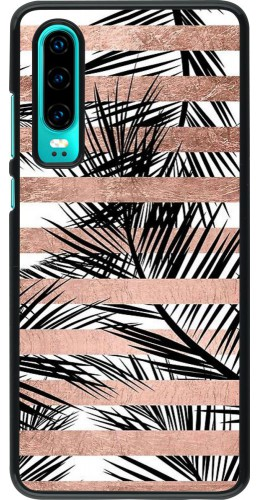 Coque Huawei P30 - Palm trees gold stripes