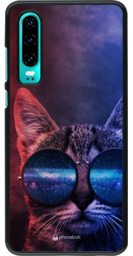 Coque Huawei P30 - Red Blue Cat Glasses
