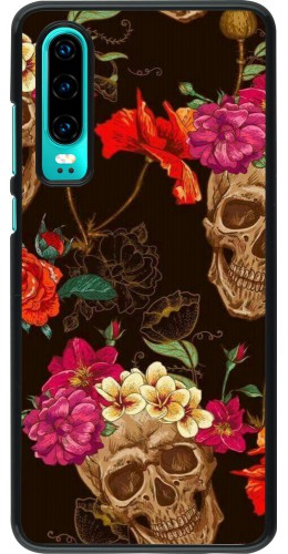 Coque Huawei P30 - Skulls and flowers