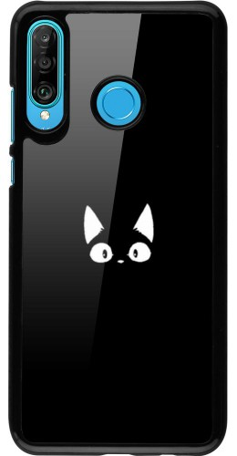 Coque Huawei P30 Lite - Funny cat on black