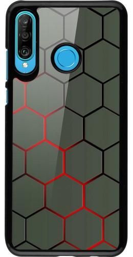Coque Huawei P30 Lite - Geometric Line red
