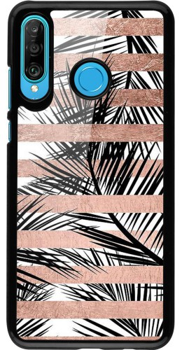 Coque Huawei P30 Lite - Palm trees gold stripes