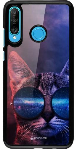 Coque Huawei P30 Lite - Red Blue Cat Glasses