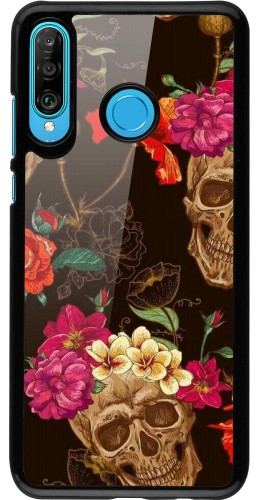 Coque Huawei P30 Lite - Skulls and flowers