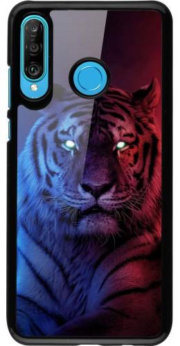 Coque Huawei P30 Lite - Tiger Blue Red