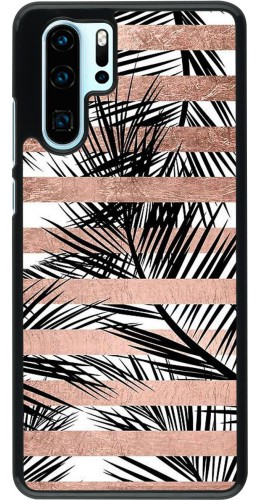 Coque Huawei P30 Pro - Palm trees gold stripes