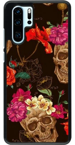 Coque Huawei P30 Pro - Skulls and flowers
