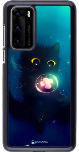 Coque Huawei P40 - Cute Cat Bubble
