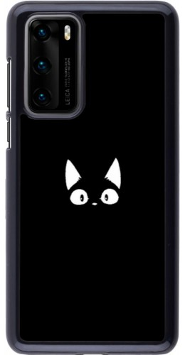 Coque Huawei P40 - Funny cat on black