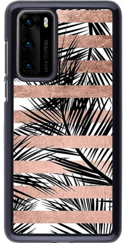Coque Huawei P40 - Palm trees gold stripes