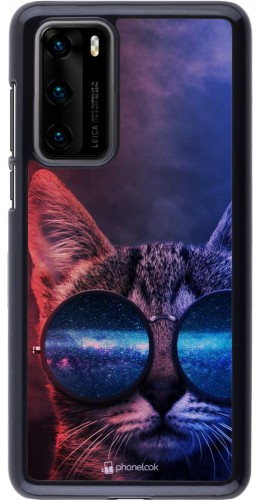 Coque Huawei P40 - Red Blue Cat Glasses