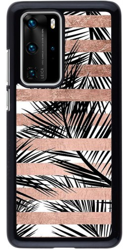 Coque Huawei P40 Pro - Palm trees gold stripes