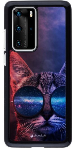 Coque Huawei P40 Pro - Red Blue Cat Glasses