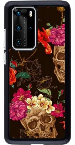 Coque Huawei P40 Pro - Skulls and flowers