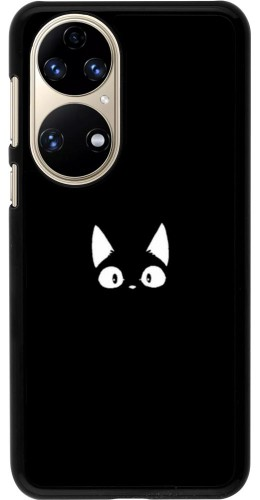 Coque Huawei P50 - Funny cat on black